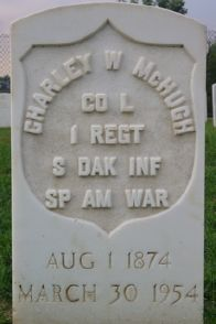 Grave marker for Spanish American War veteran, Charley W. McHugh (1874-1954)