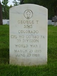 Headstone of WWI veteran, George T. Sims (1895-1969)