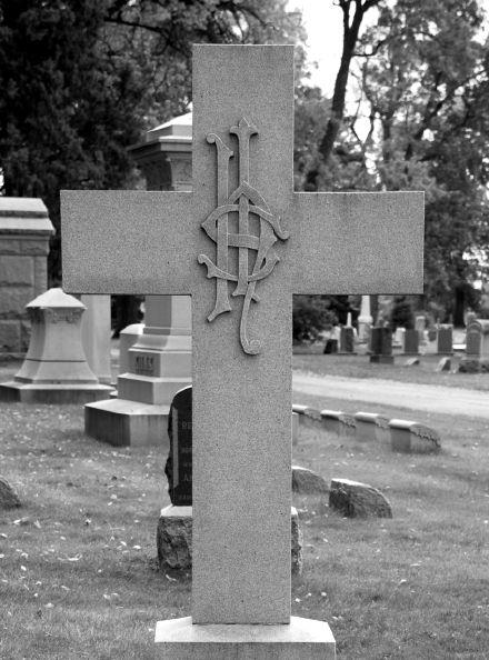 IHS cemetery symbol in the shape of a dollar sign - Iota, Eta, Sigma