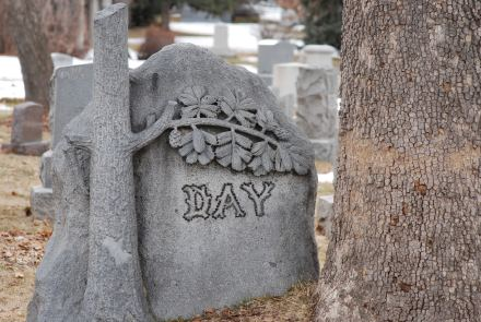 Example of a treestone from Fairmount Cemetery, Denver, Colorado
