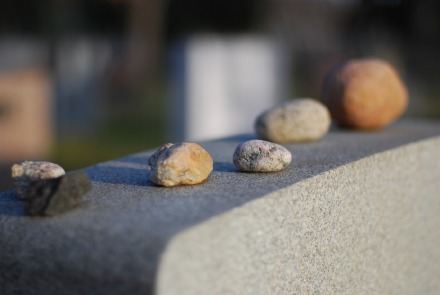 photograph showing stones left on a Jewish tombstone from Fairmount Cemetery, Denver, Colorado